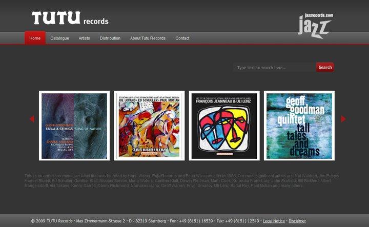 Wordpress-Website von TUTU, einem Starnberger Jazzlabel